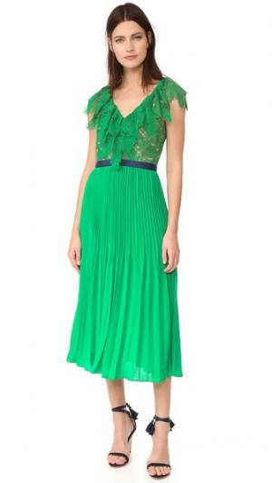 Плиссированное платье Dress Code Three Floor. Цвет: изумрудный/телесный