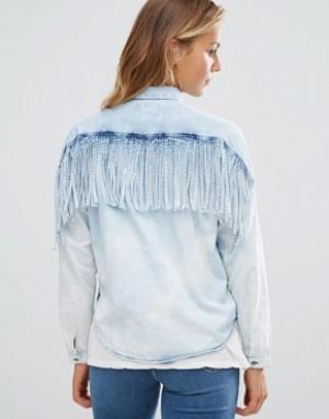 Maison Scotch Джинсовая рубашка с бахромой на спине. Цвет: синий