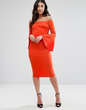 Club L Платье с открытыми плечами и длинными расклешенными рукавами. Цвет: оранжевый