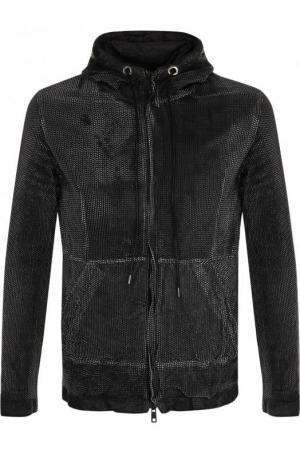 Кожаная куртка на молнии с капюшоном Giorgio Brato. Цвет: черно-белый