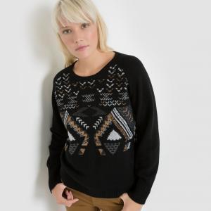 Пуловер с геометрическим рисунком SUNCOO. Цвет: черный