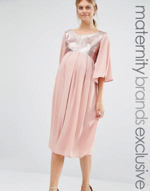 Queen Bee Платье макси с пайетками. Цвет: розовый