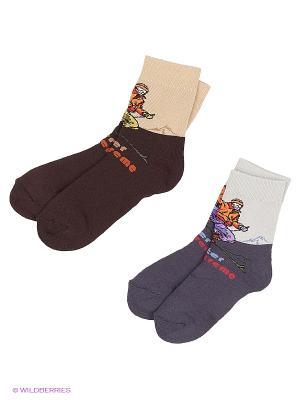 Носки, 2 пары Гамма. Цвет: коричневый, темно-серый