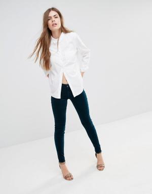 J Brand Бархатные супероблегающие брюки Luxe. Цвет: зеленый