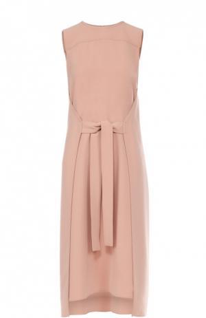 Платье-миди без рукавов с бантом Theory. Цвет: розовый