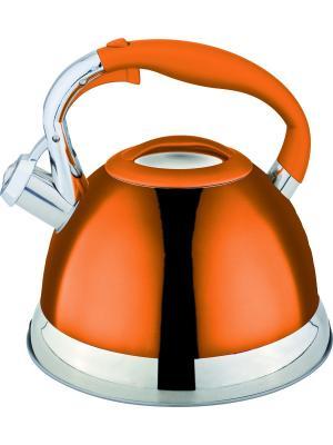 Стильный чайник со свистком 2,7л. RAINSTAHL. Цвет: оранжевый