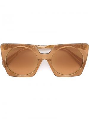 Солнцезащитные очки в квадратной опарве Yohji Yamamoto. Цвет: металлический
