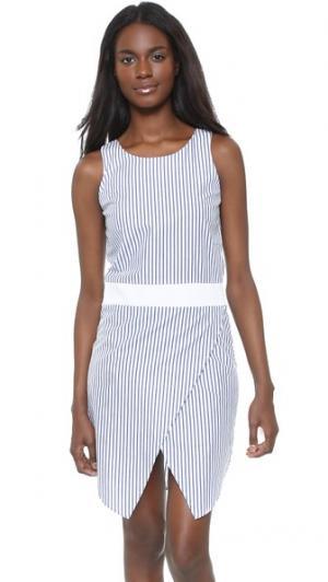 Платье без рукавов Jeanne RUKEN. Цвет: темно-синяя полоска/белый