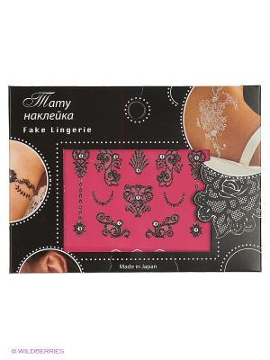 Тату-наклейка со стразами Сердце,  Fake Lingerie (черный FL20). Цвет: черный