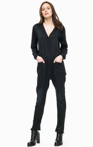 Черный комбинезон с брюками необработанным краем ONE TEASPOON. Цвет: черный