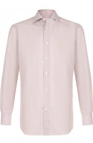 Рубашка из смеси хлопка и льна Kiton. Цвет: бежевый