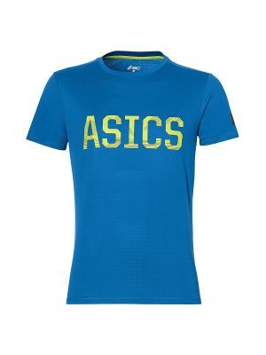 Футболка SS GRAPHIC TEE ASICS. Цвет: голубой, лазурный, салатовый
