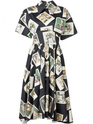 Платье Kawabata araki  с принтом фотокарточек Olympia Le-Tan. Цвет: чёрный