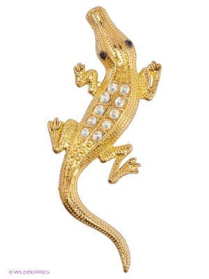 Наклейка 3D Крокодил золотой малый N117 WIIIX. Цвет: золотистый