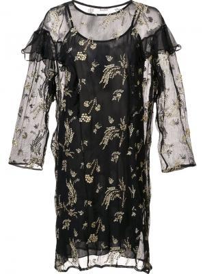 Прозрачное платье с рюшами Suno. Цвет: чёрный