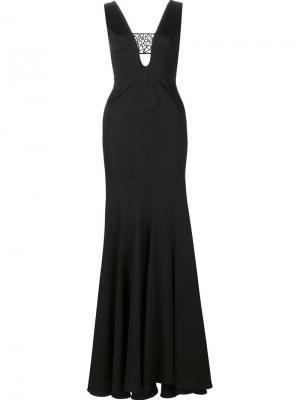 Длинное платье Leigh Zac Posen. Цвет: чёрный