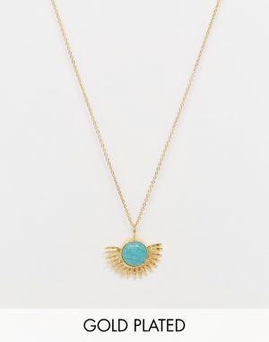 Ottoman Hands Ожерелье с подвеской-солнцем и бирюзой. Цвет: золотой