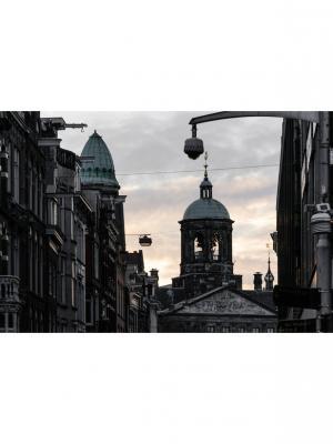 Картина Амстердам вечер Ecoramka. Цвет: черный, светло-серый, серый
