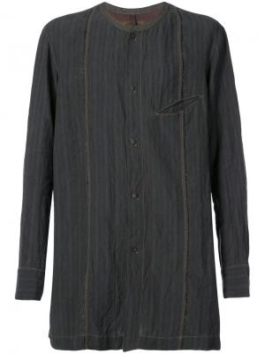 Полосатая рубашка без воротника Ziggy Chen. Цвет: чёрный