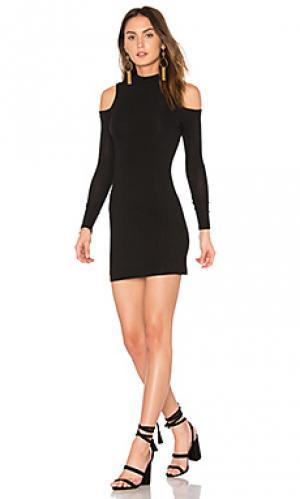 Мини платье с открытыми плечами BLQ BASIQ. Цвет: черный