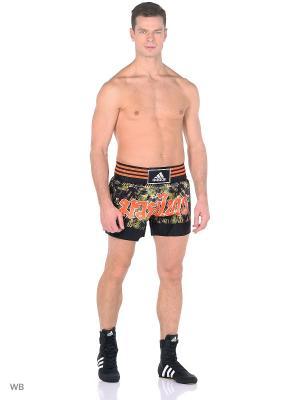 Шорты для тайского бокса Thai Boxing Short Sublimated Adidas. Цвет: черный, темно-коричневый