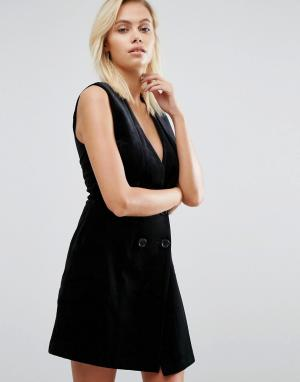 Greylin Бархатное платье под смокинг Thompson. Цвет: черный