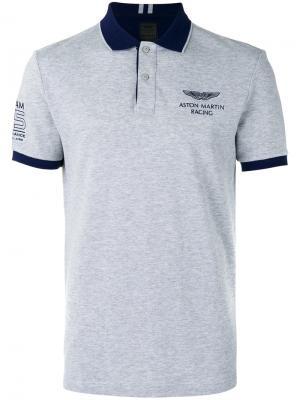 Рубашка-поло с принтом на груди Hackett. Цвет: серый
