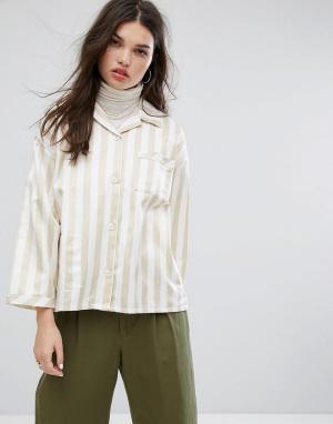 Stussy Свободная пижамная рубашка в полоску. Цвет: белый