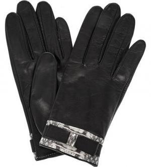 Кожаные перчатки с застежкой на кнопку ELEGANZZA. Цвет: черный