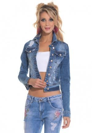 Куртка джинсовая DSHE. Цвет: голубой