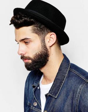 ASOS Черная фетровая шляпа с круглой тульей. Цвет: черный