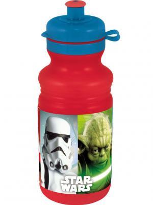 Бутылка пластиковая (спортивная, 500 мл). Звёздные войны Stor. Цвет: зеленый, красный