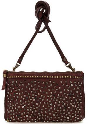 Кожаная сумка с дополнительным плечевым ремнем Campomaggi. Цвет: бордовый