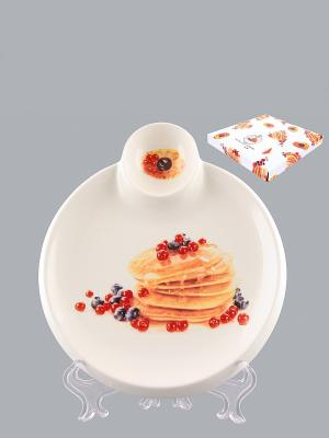 Тарелка для блинов Блины с ягодами Elan Gallery. Цвет: белый, желтый, красный