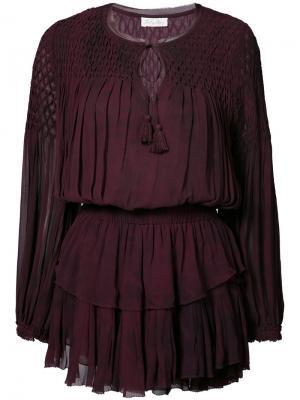 Многослойное платье Love Shack Fancy. Цвет: розовый и фиолетовый