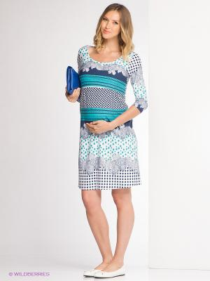 Платье Nuova Vita. Цвет: белый, темно-синий, бирюзовый