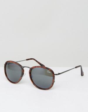 Quay Australia Черепаховые круглые солнцезащитные очки Odyssey. Цвет: коричневый