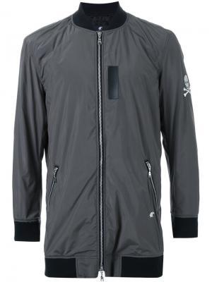 Удлиненная куртка-бомбер на молнии Loveless. Цвет: зелёный