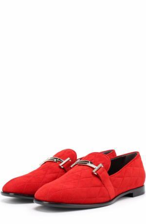 Замшевые лоферы с прострочкой и пряжкой Tod's. Цвет: красный