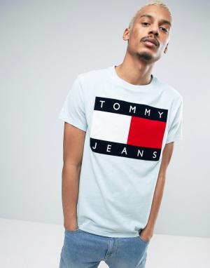Tommy Jeans Голубая футболка в стиле 90-х с логотипом M1. Цвет: синий