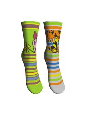 Носки 2 пары Master Socks. Цвет: зеленый, светло-серый