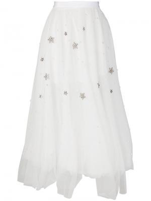 Пышная юбка с отделкой Wandering. Цвет: белый