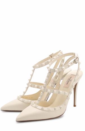 Кожаные туфли Rockstud с ремешками Valentino. Цвет: белый
