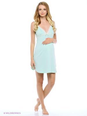 Сорочка женская для беременных и кормящих Hunny Mammy. Цвет: светло-зеленый, молочный