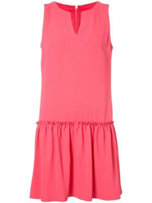 Платье шифт со сборкой Trina Turk. Цвет: розовый и фиолетовый