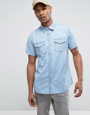 Jack & Jones Светлая джинсовая рубашка слим с короткими рукавами Origi. Цвет: синий