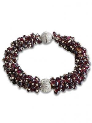 Браслет Royal Garnet из граната со вставками ювелирного качества Магазин браслетов. Цвет: темно-коричневый,темно-красный,бордовый,коричневый,серебристый