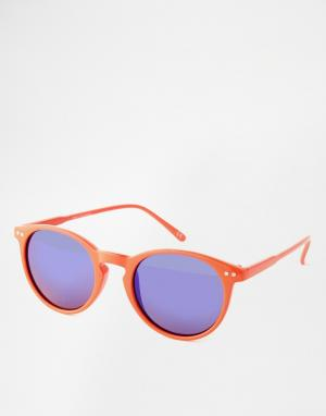 Trip Зеркальные круглые солнцезащитные очки. Цвет: оранжевый