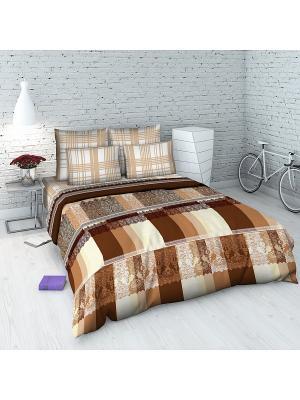Комплект постельного белья из бязи 2 спальный Василиса. Цвет: коричневый, персиковый
