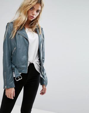 Goosecraft Байкерская куртка с ремнем. Цвет: черный